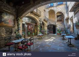 medieval house interior arch architecture barcelona catalonia city history house