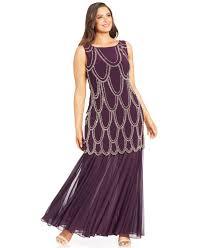 betsy u0026 adam plus size beaded drop waist dress in purple lyst