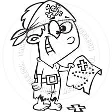 cartoon pirate boy with treasure map black and white line art by