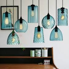 Blue Glass Pendant Light Loft Retro Industry Single Led Pendant L Blue
