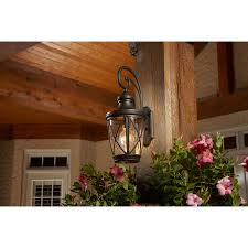 Lowes Patio Lights by Allen Roth Castine 20 3 8 In H Rubbed Bronze Outdoor Wall