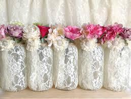 jar vases ivory lace covered jar vases wedding decoration engagement