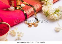 hindu garland closeup photo mangalsutra necklace worn by stock photo 609397217