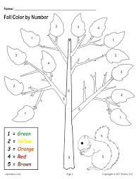 free printable preschool fall themed color by number worksheet