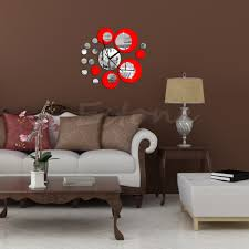 modern circles acrylic mirror style wall clock removable decal art unbranded