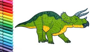 draw dinosaur triceratops coloring pages kids