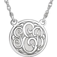 monogram gold necklace personalized 14k white gold recessed 3 letter monogram necklace