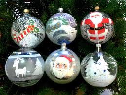 hand decorated blown glass christmas baubles set box of 6
