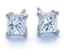 white gold studs earrings 24 carat princess cut diamond studs in 14k white gold
