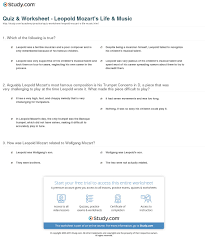 mozart biography brief quiz worksheet leopold mozart s life music study com
