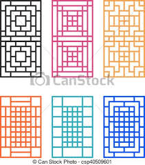 vector clipart of japanese ornament for door window wall and