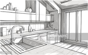 perspective view sketch of a kitchen in greyscale vector art