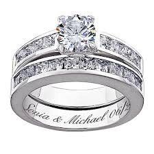 engrave wedding ring sterling silver 5 8ctw cz 2 engraved wedding ring set