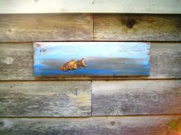 fish wall artbohemian decororiginal paintingon woodwooden