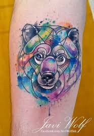watercolor bear tattooed by javiwolfink tatouage pinterest