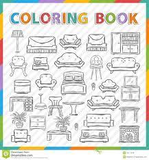 vector coloring book home interior stock vector image 50171346