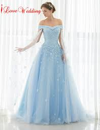 bridal gowns 2017 light blue wedding dresses the shoulder lace tulle