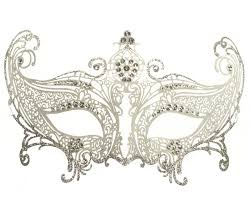 silver mask metal lace masquerade mask silver and white on the hunt