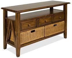 storage unit with wicker baskets riverside furniture claremont 3 drawer console table with storage