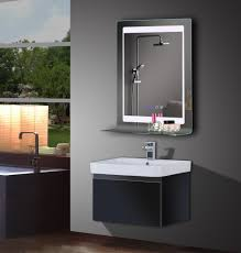 Bathroom Mirror With Clock Led Vanity Mirror With Surface Touch Switch And Blue Digital Clock