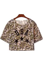 army pattern crop top army green camo print graphic crop top 012267 sexy crop tops