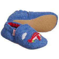 giesswein baby boys blue plane helicopter wool slippers