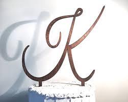 k cake topper script letter wooden cake topper fulton craft