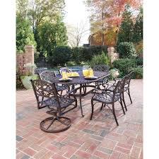 Home Depot Outdoor Patio Dining Sets - home styles biscayne 42 in black 5 piece round swivel patio