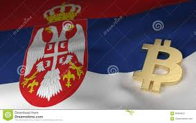 Flag Of Serbia Bitcoin Currency Symbol On Flag Of Serbia Stock Illustration