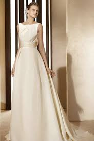 Modest Wedding Dress Wholesale Crewneck Ivory Satin A Line Modest Wedding Dress With
