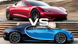 future bugatti 2020 2020 tesla roadster vs 2018 bugatti chiron youtube