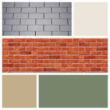 exterior color scheme for red brick and gray roof moss green