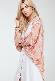 forever 21 floral print kimono in pink lyst