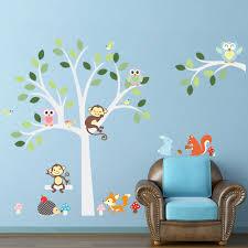 Monkey Nursery Wall Decals Animal Monkey Owl Swing Tree Wall Sticker For Kid Baby Children