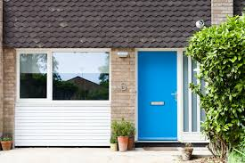 blue front door 1960 u0027s garage conversion and white timber windows