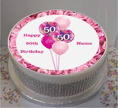 personalised pink 50th birthday balloons fondant cake topper