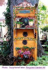 Recycled Garden Decor Upcycle An Old Door And It Becomes A Nice Accent Shelf In The