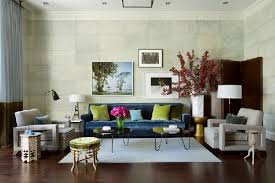 Eclectic Living Room Furniture Peacock Blue Sofa Contemporary Living Room Frank Roop