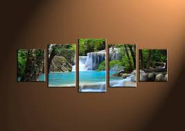 5 piece blue waterfall ocean canvas wall art