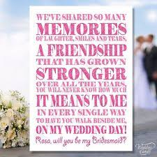 bridesmaid poems to ask of honour card ebay