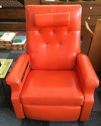 Vintage Leather Recliner Vintage Niagara Orange Leather Recliner Chair With Adjustable Head