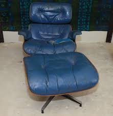 Herman Miller Padded Blue Vintage Chair Vintage Eames Lounge Chair And Ottoman By Herman Miller Ebth