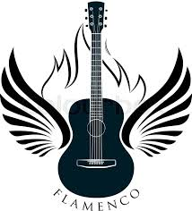 acoustic guitar emblem with wings and caption