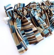 Blue Valance Curtains Focus Valance Curtains Brown Tan Blue Teal Stripes 53 Inches Wide