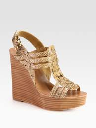 tory burch leslie snakeskin wedge sandals in natural lyst