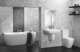 Wonderful Modern Bathroom With Black And White Mosaic Floor And - Bathroom designs black and white