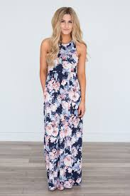 navy maxi dress floral print racerback maxi dress navy pink magnolia boutique