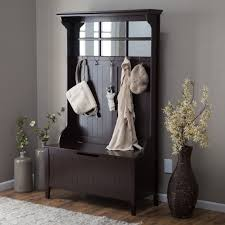 furniture espresso entry storage bench cabinet with hanging coat