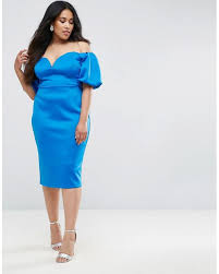 asos scuba puff sleeve bardot midi dress in blue lyst