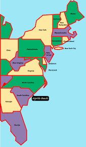 Map Of Florida Panhandle by East Coast Map Myrtle Beach Is Situated On The East Or Atlantic
